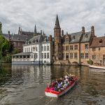 Sightseeing boat in brugge canals