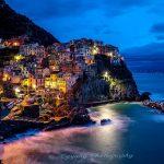 Manarola of Cinque Terra by night Italy