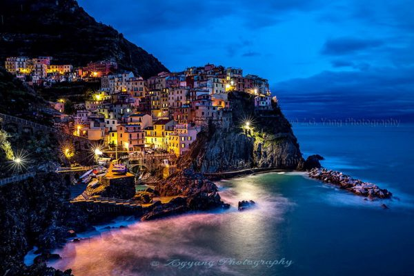 Manarola of Cinque Terra by night Italy