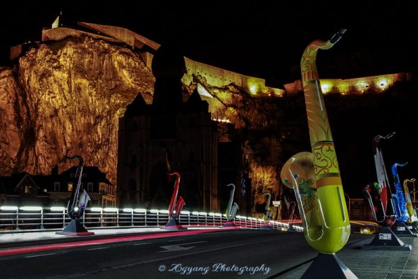 Charles bridge decorated with Saxophones in Dinant Belgium