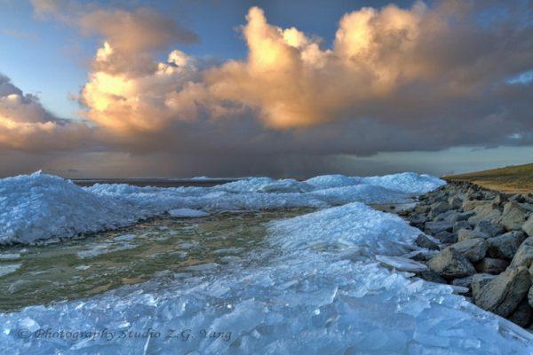 Drifting ice on lake Ijssel near Urk Netherlands
