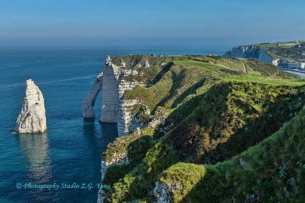 Spectacular cliffs and rock formations at Etretat France