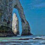 Etretat sea waves and elephant nose cliff France
