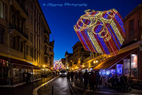 Christmas evening in Nice France