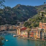 Picturesque Portofino viewed from hill Italy