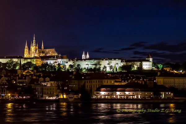 Prague castle by night Czech