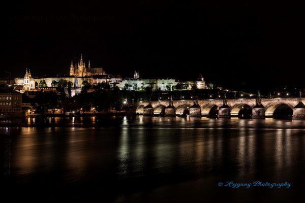 Prague castle and Charles bridge by night