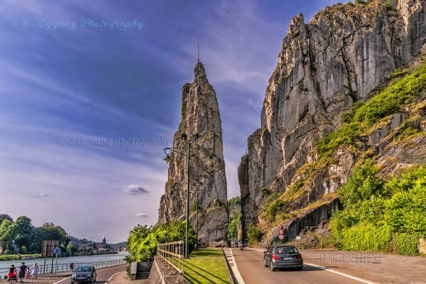 Knife-shaped rock formation near Dinant Belgium