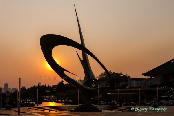 Bronze sculpture at World Horti Expo in Kunming China