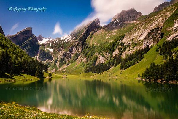 Spectacular scenery of lake Seealpsee Switzerland