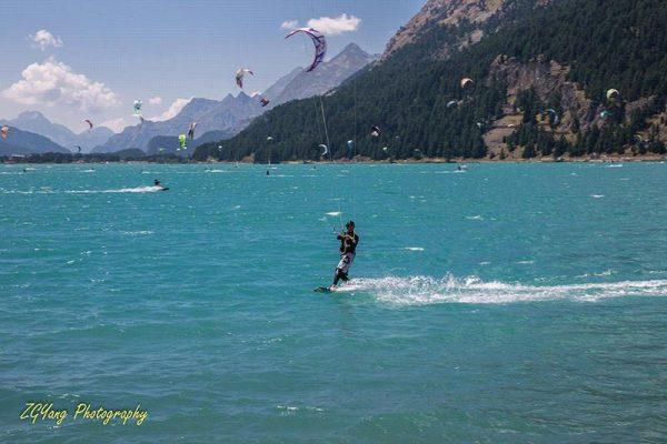 Kitesurfing on Lake Silvaplanersee Switzerland