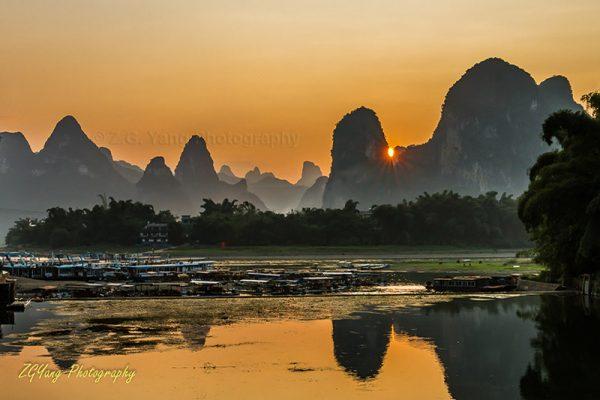 Sunset behind the karst hills at Li river