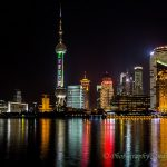 Oriental Pearl TV Tower at Huangpu river bank in Shanghai China