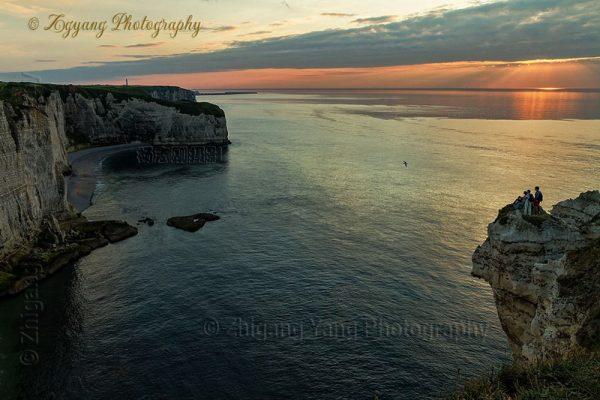 Waiting for sunset at Etretat cliffs
