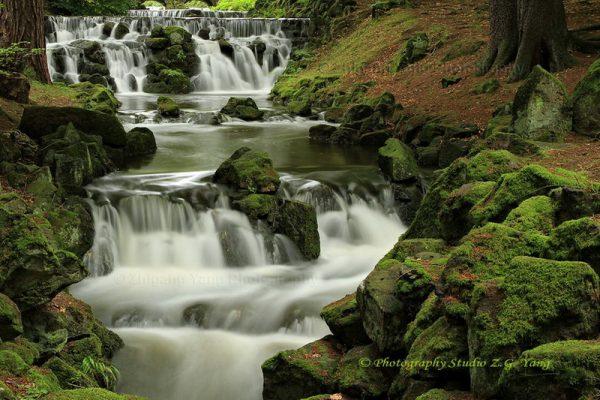 Waterfall of bergpark Wilhelmshohe in Kassel Germany