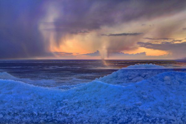 Drifting ice and coming storm at Urk Netherlans