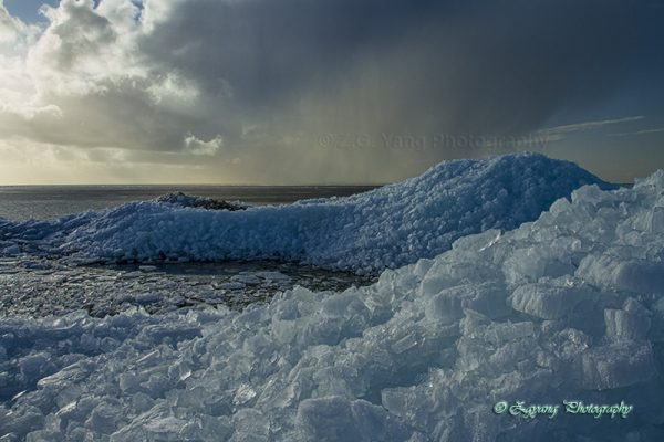Heaps of drifting ice at urk netherlands